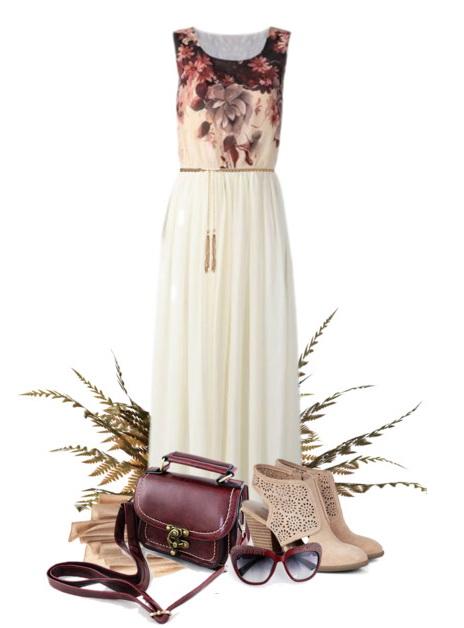 boho chic look with booties and dark brown satchel bag.