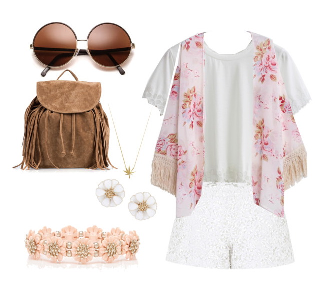 t-shirt, shorts and floral vest look