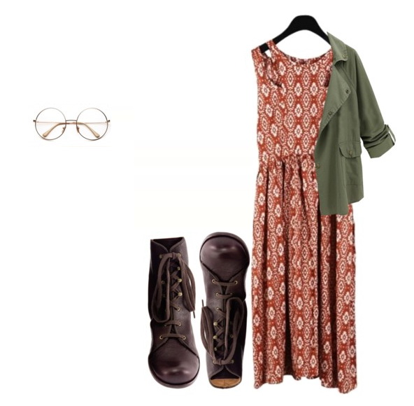 look with maxi dress, jacket and boots