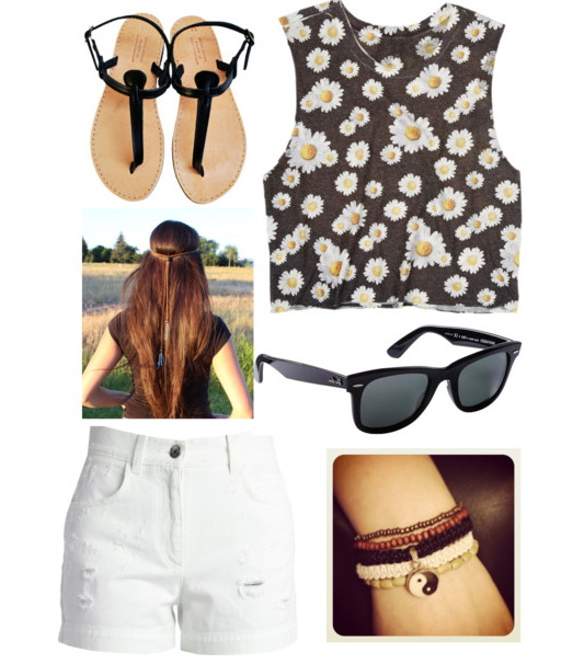 outfit with t-shirt, white short and flip-flops