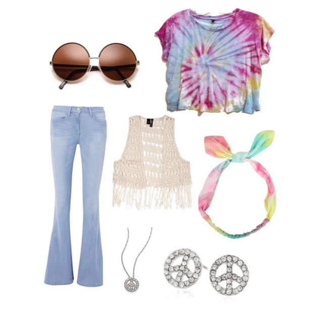 tie-dye t-shirt with bootcut jeans, perforated knitted vest, rounded sunglasses and peace symbol jewelry.