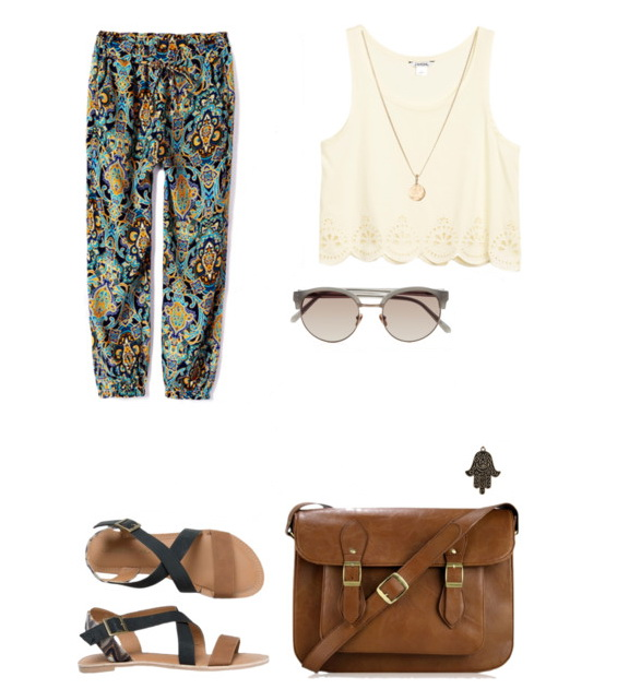 printed sweatpants with cropped cream white tank, flat sandals, satchel bag and sunglasses.