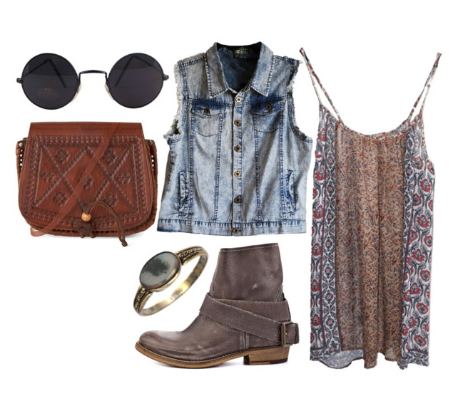 semi-sheer slipdress with denim vest, rounded sunglasses and grunge grey booties.