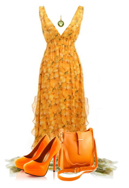 orange v-neck sleeveless gown dress with the same colored pumps and bag.