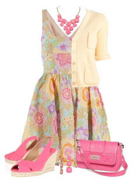 floral dress with pink shoes and bag