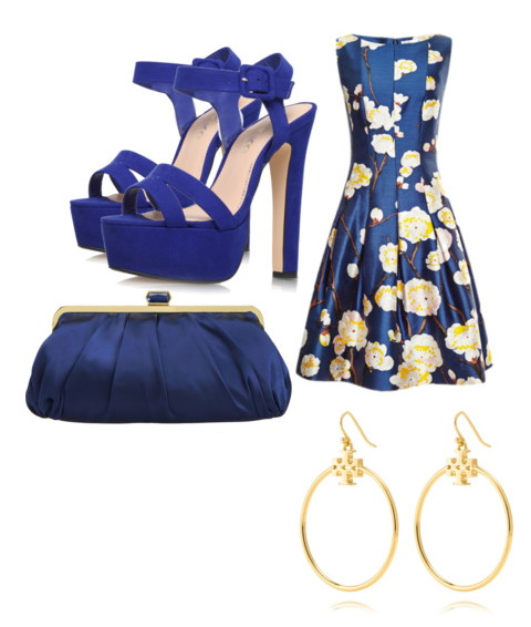 evening cocktail blue dress with yellow floral print.
