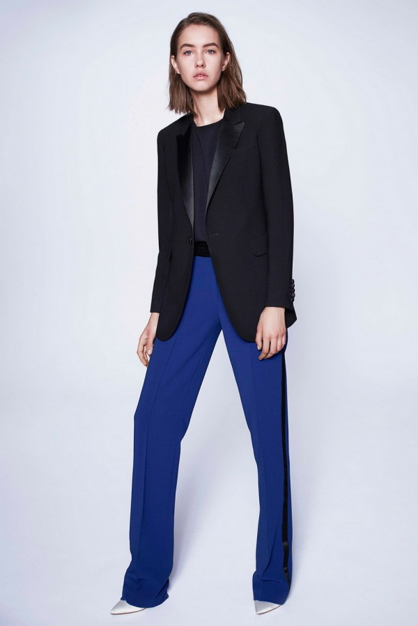black women's blazers & suit jackets with blue pant for work