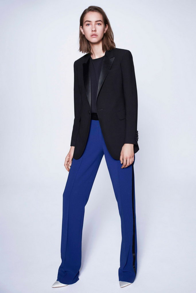 black blazer with blue pants