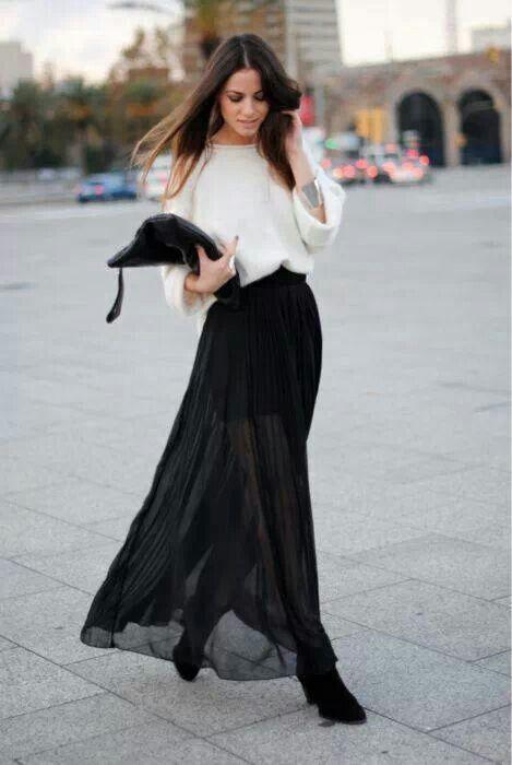 black maxi skirt look