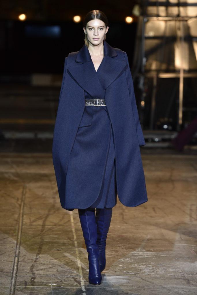 long blue cape coat