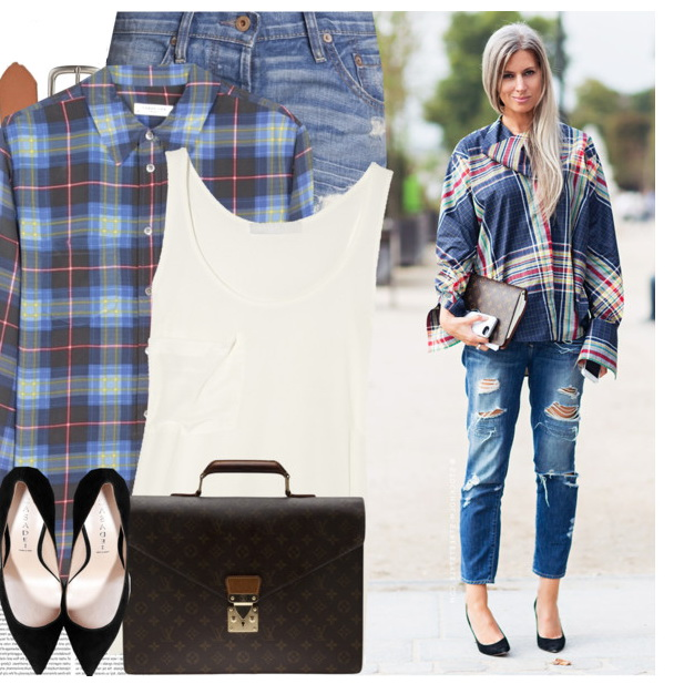 blue plaid shirt with jeans and heels
