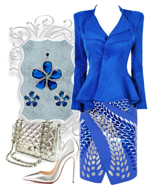 blue skirt suit for women at work