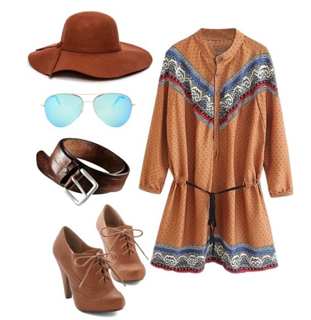 vintage dress, aviator sunglasses and belt