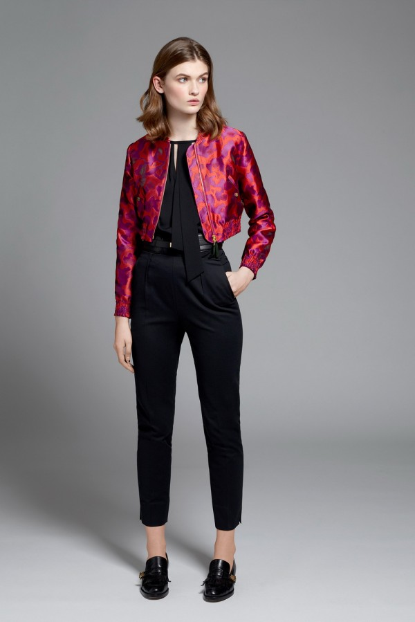 black outfit with red jacket
