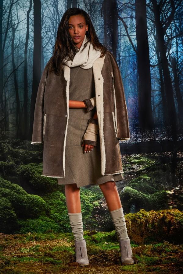 long shearling coats & jackets
