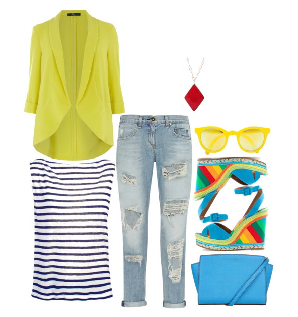 lime-yellow blazer, naval striped tank, ripped jeans and wedges