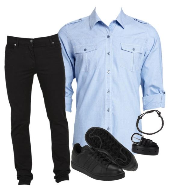 dark jeans with light blue shirt for men