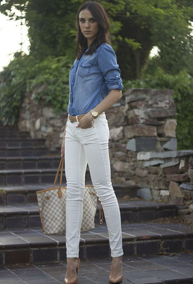 white jeans with denim shirt