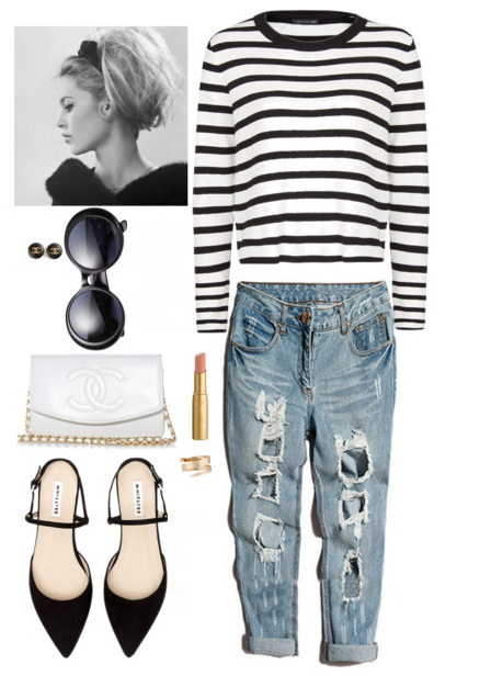 stripe sweater with jeans