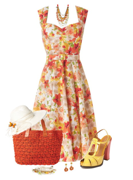 chic dress with a white sunhat, burnt orange straw tote.