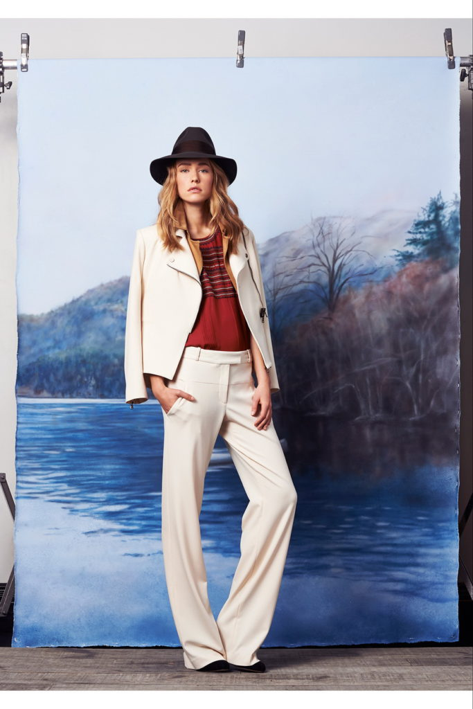 cream women's pant suits