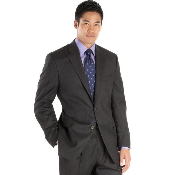 dark pleated pants suits