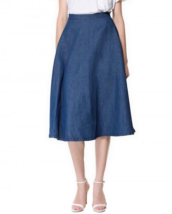 denim midi skirt with heels