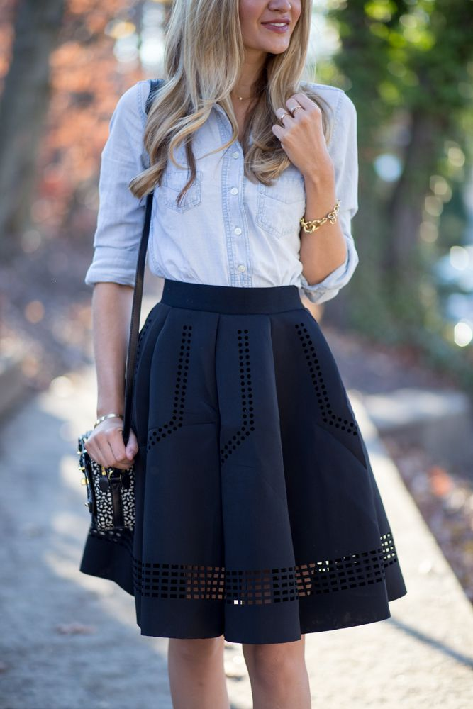denim shirt with a line skirt styles for autumn-winter