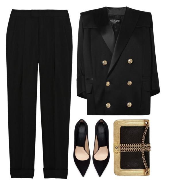 elegant black pants suit for women