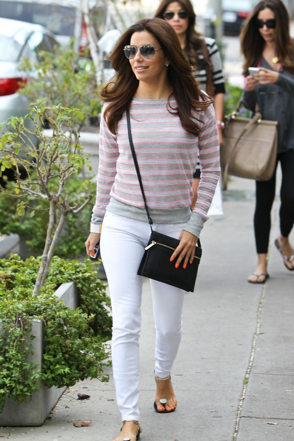 light pants with sweater