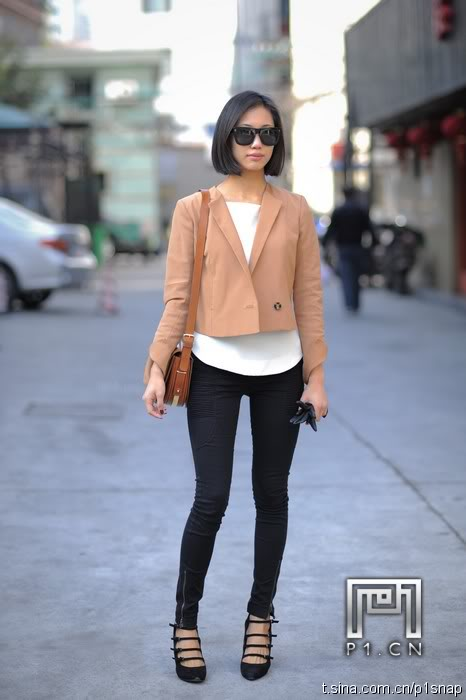 beige blazer with white shirt and black pants