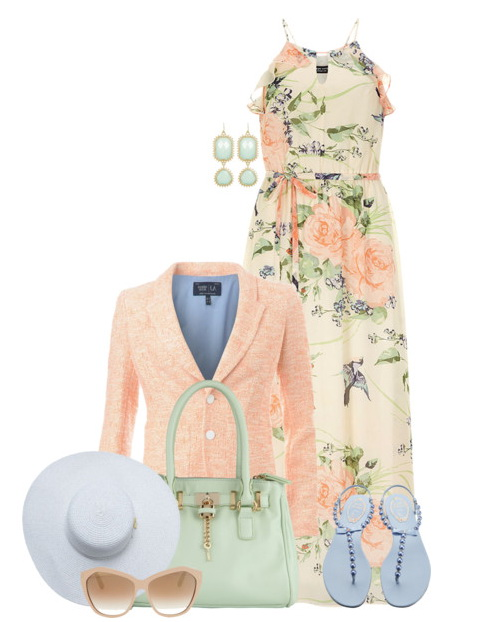 floor-length spaghetti strap gowns pale pink tweed blazer and sandals.