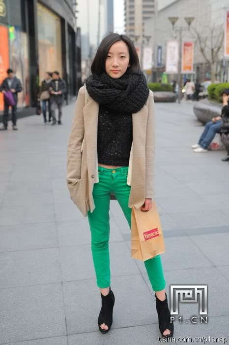 green pants with beige sweater outfit