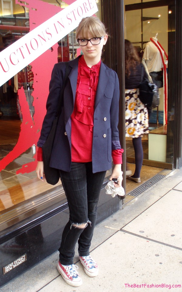 casual look with blazer and tennis
