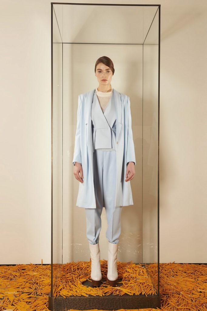 light blue women's pant suits