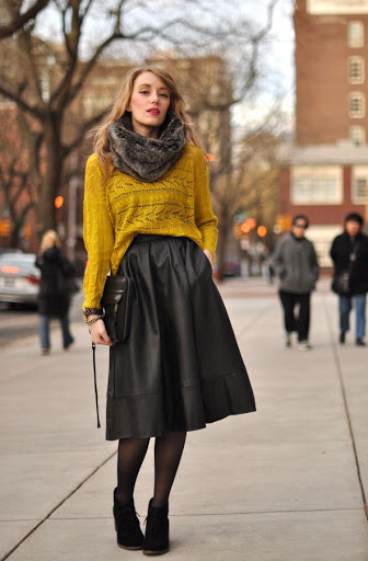 long leather skirt styles for autumn-winter