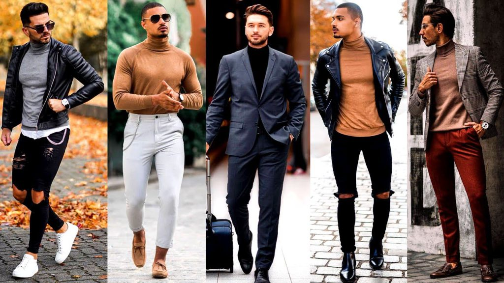 men's turtleneck sweater outfits for winter