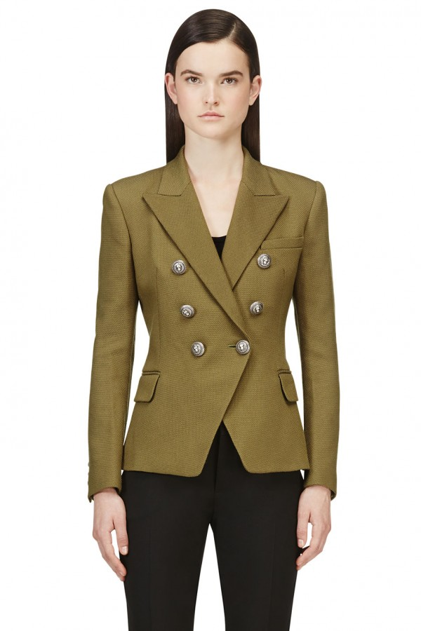 green double breasted suit for women
