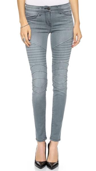 light blue moto jeans