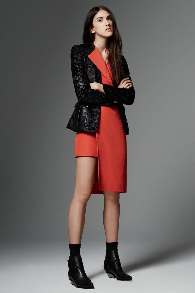 black blazer with orange dress