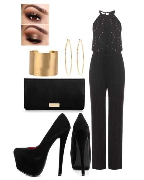black jumpsuit with bracelet and heels
