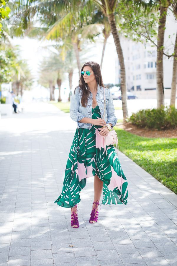 palm tree and tropical prints dress with jean jacket