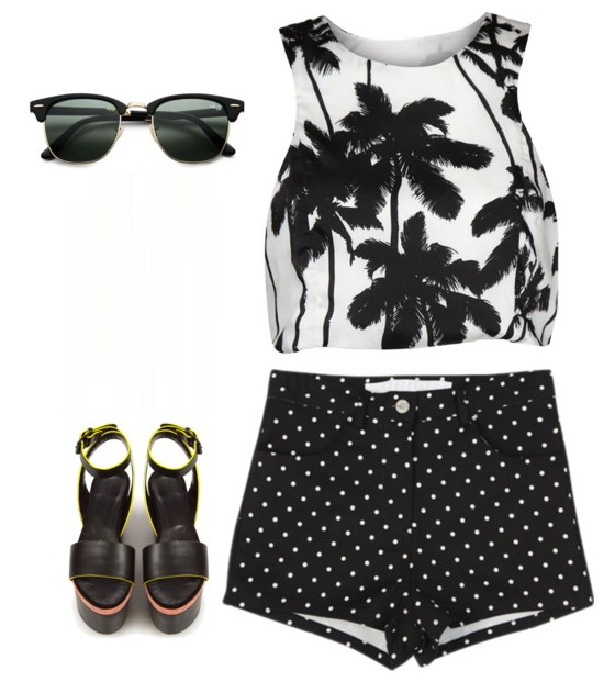 look with top, shorts, sunglasses and sandals