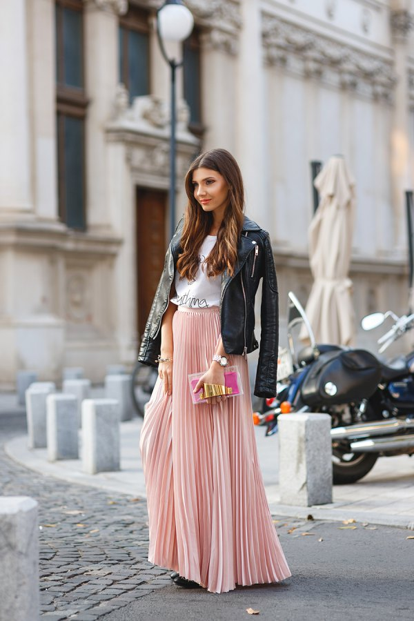 pink maxi skirt winter outfit