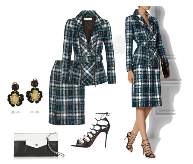 women's plaid skirt suit for work