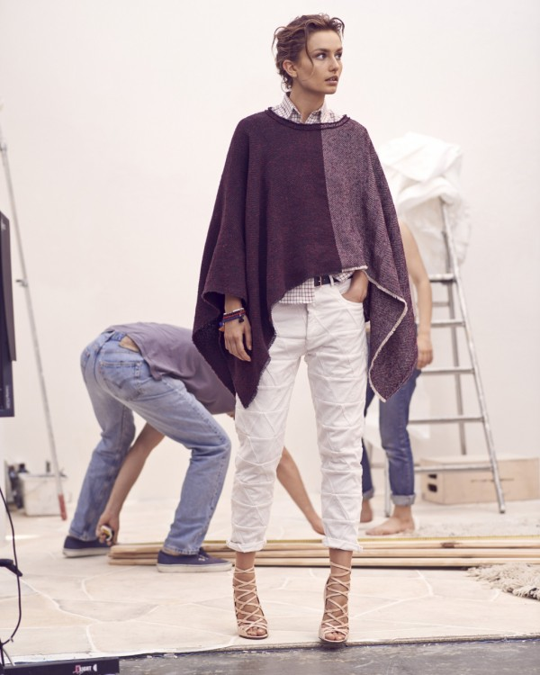 purple poncho with white pants