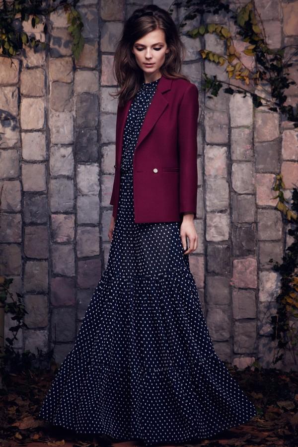 red blazer with dark maxi dress