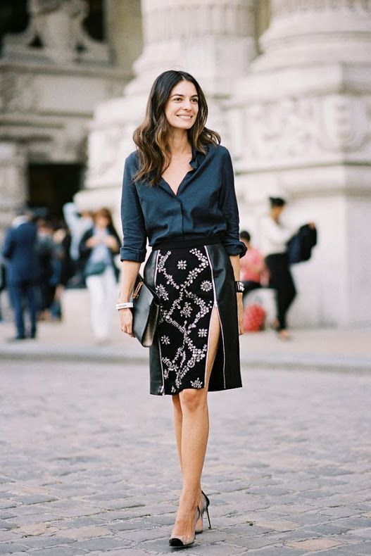 work outfit with skirt with long cuts