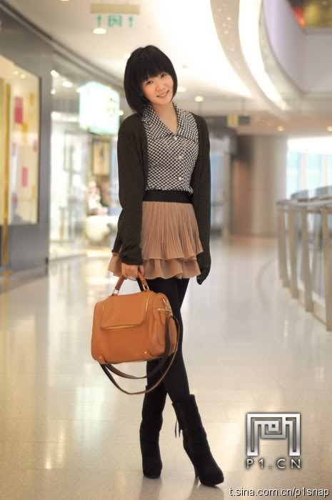beige skirt with leggings and sweater