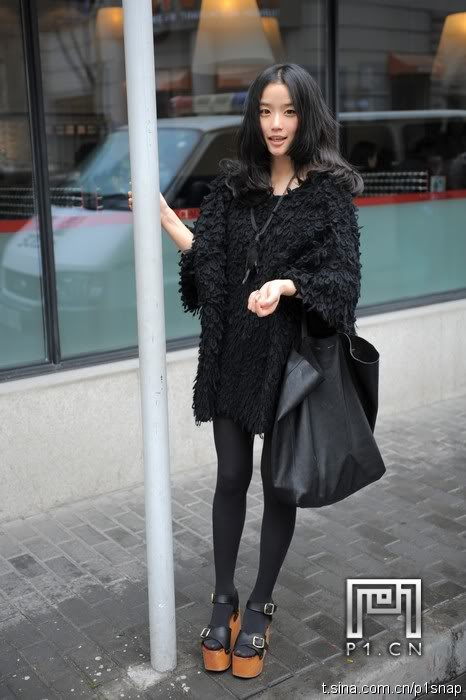 black outfit for winter chinese style